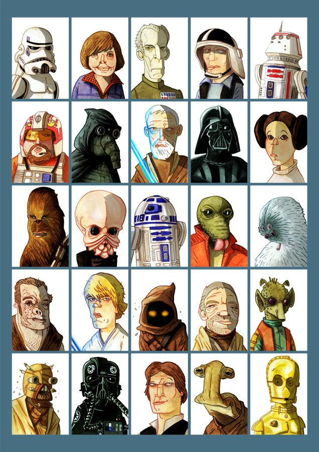 25 Star Wars Episode Iv Characters These Were All Drawn And Painted As Separate Sketch Cards Before Star Wars Episode Iv Star Wars Episodes Star Wars Poster