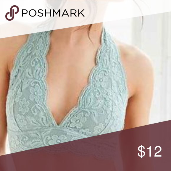8e01dc52018 Out From Under Lace Halter Bralette Mint green ha ler-style bralette with  clasp at back. Urban Outfitters Intimates   Sleepwear Bras