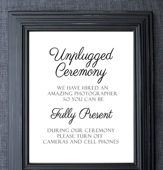 unframed unplugged wedding sign  unplugged ceremony sign