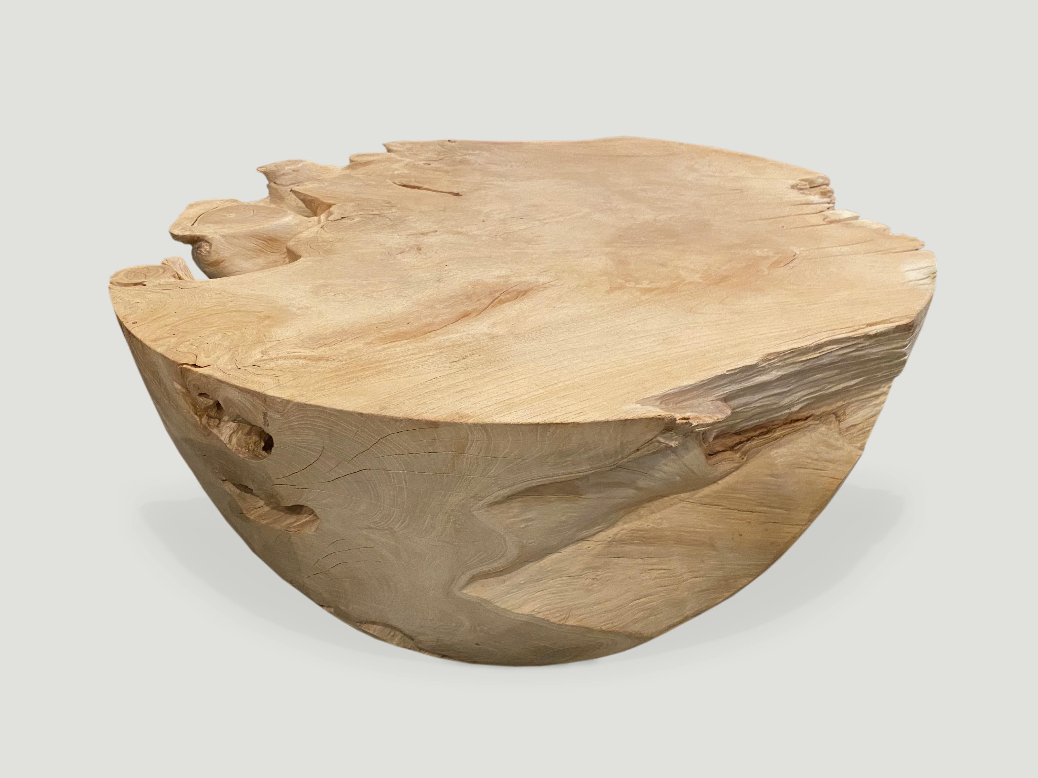 Round Bleached Teak Coffee Table 8stk In 2020 Coffee Table Wood