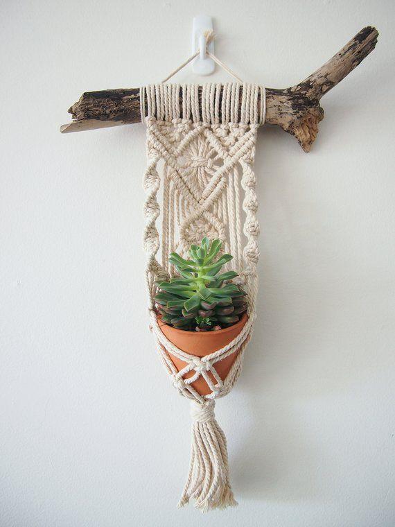 Dies ist schöne kleine Blumenampel ist handgefertigt, mit feinen Details und eine prächtige Quaste. Es sitzt auf einem Stück Treibholz, die einen schönen Kontrast zu der 100 % natürlicher australische Baumwolle String bietet. Das Treibholz wurde gereinigt und desinfiziert. Diese