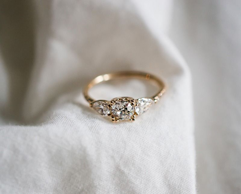 bespoke vintage diamond engagement ring - Colored Wedding Rings
