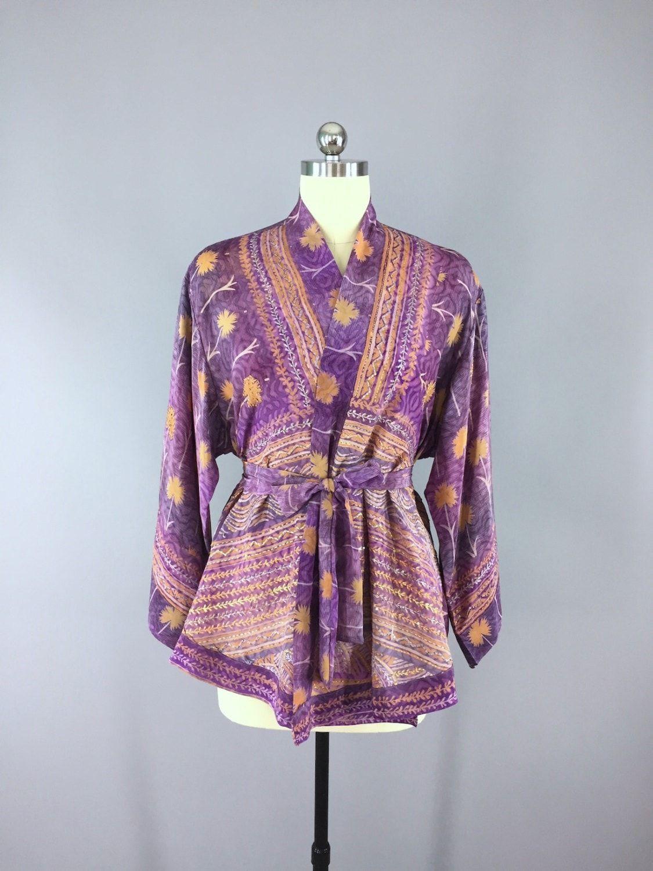 Silk Kimono Cardigan / Vintage Indian Sari / Purple Orange Floral Print