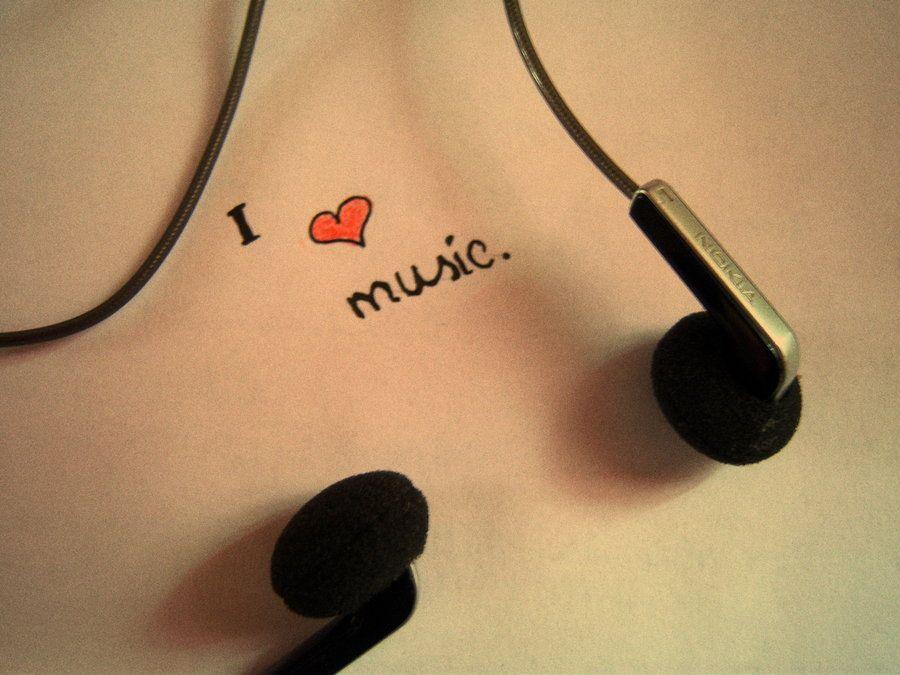 Minimalist Earphones I Love Music Wallpaper 900x675PX