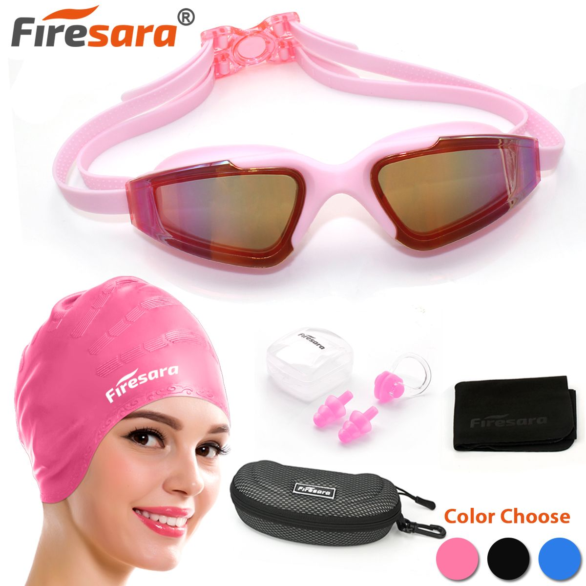21692dc9b188 Firesara Swim Cap Swimming Goggles Anti Fog UV Protection for Adults Youth  Men Women Boys Kids with Nose Clip Ear Plugs Sets