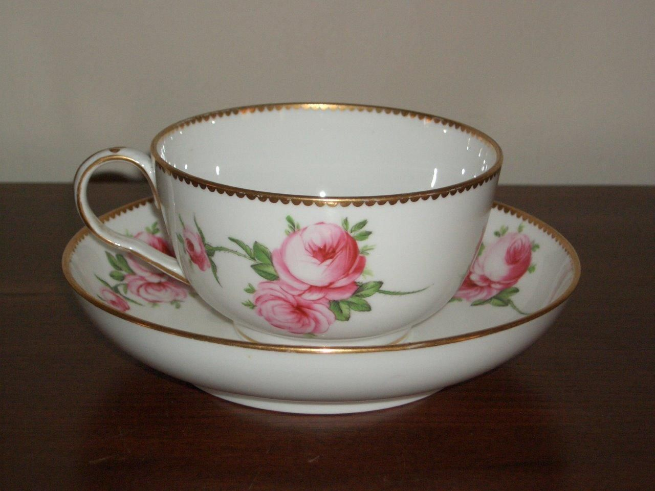 "AN English Spode Porcelain ""Roses"" Breakfast CUP Saucer Circa 1820 