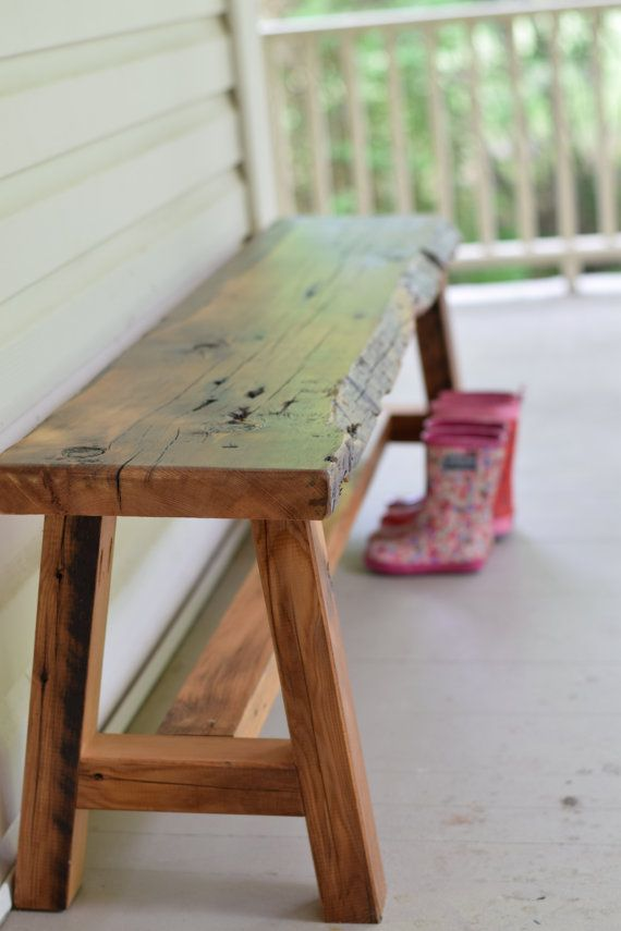 Live Edge Reclaimed Wood Bench Entryway Bench Barn By AcornMill