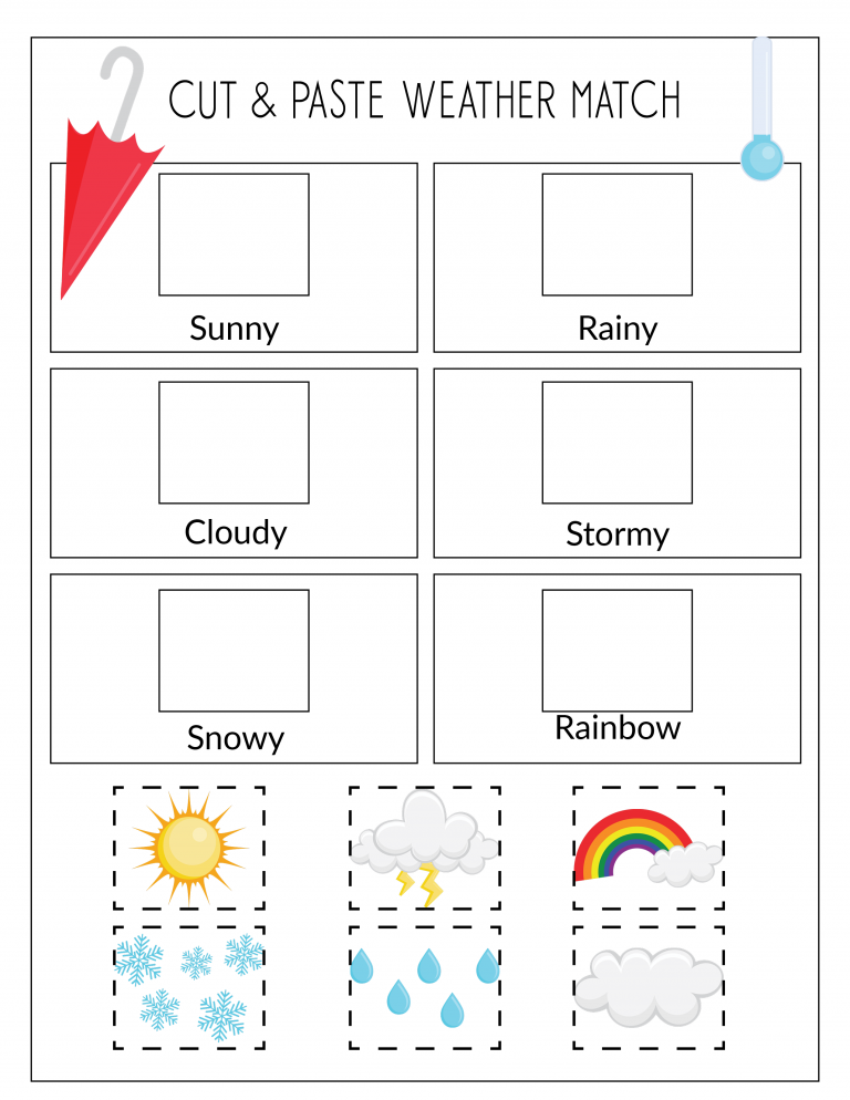 Record the Weather, Writing Practice, & Weather Match Game