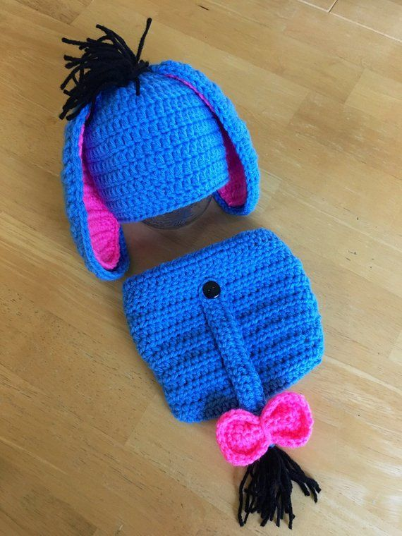 dff543b69 Eeyore Boy or Girl Newborn Crochet Knit Outfit Hat Diaper Cover Baby ...