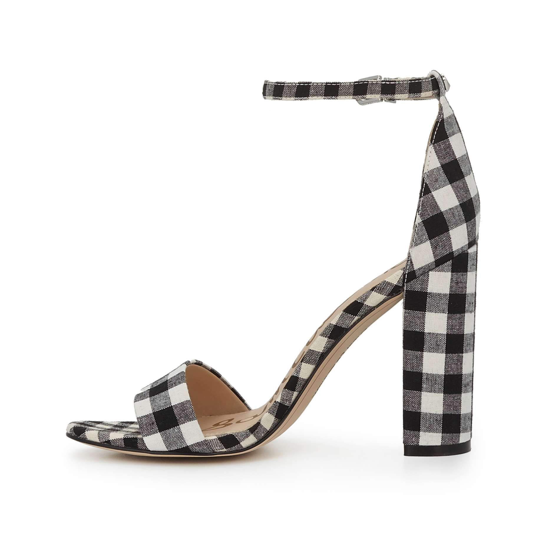 Yaro Ankle Strap Sandal by Sam Edelman - Black/White Gingham - View 5