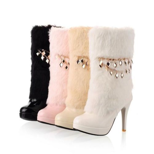 Women's Fashion Metal Chain Plush Patent Leather High heeled Mid Calf Boots