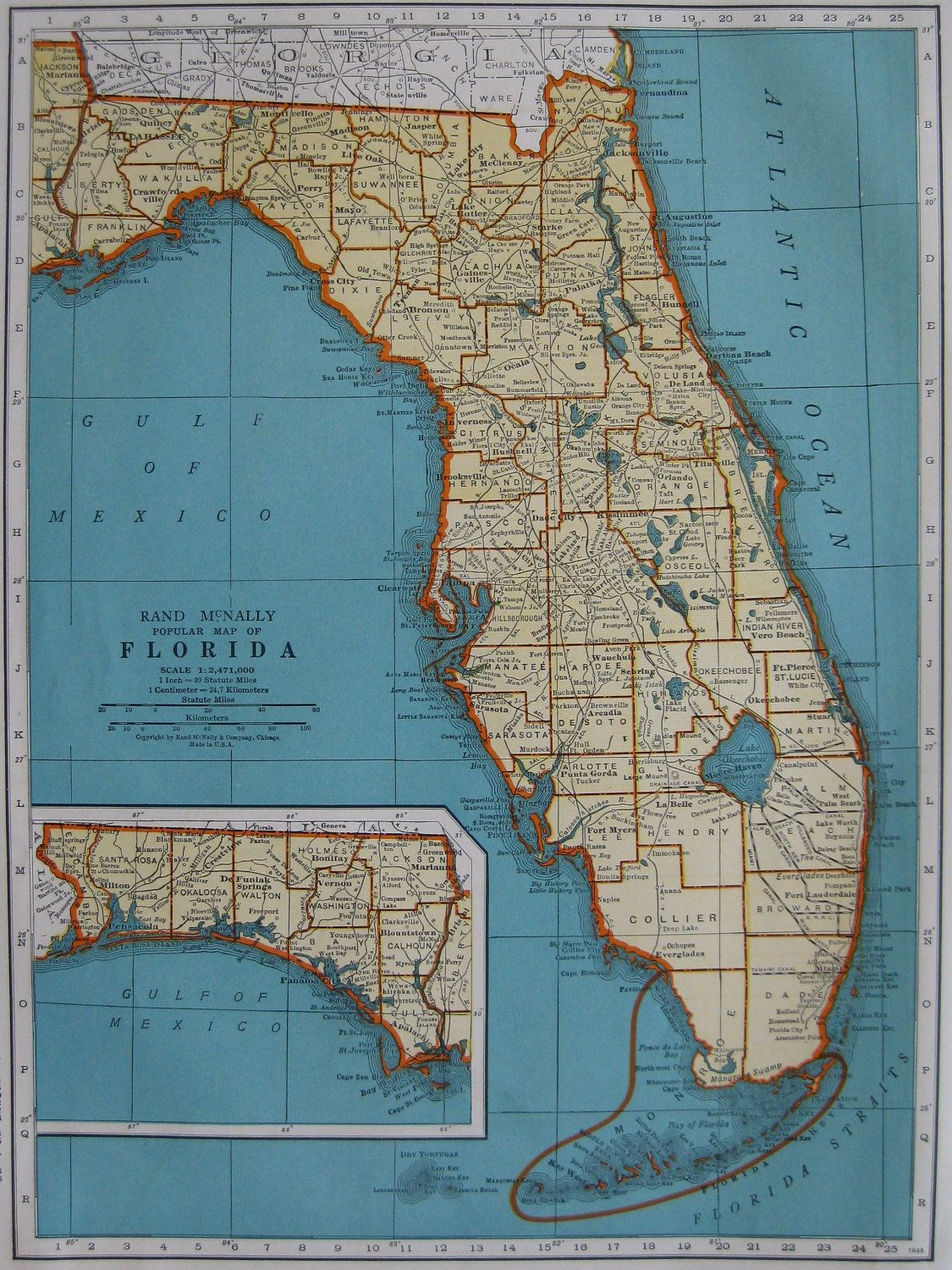 Vintage FLORIDA Map Beautiful Color S Antique Map - Florida map to color