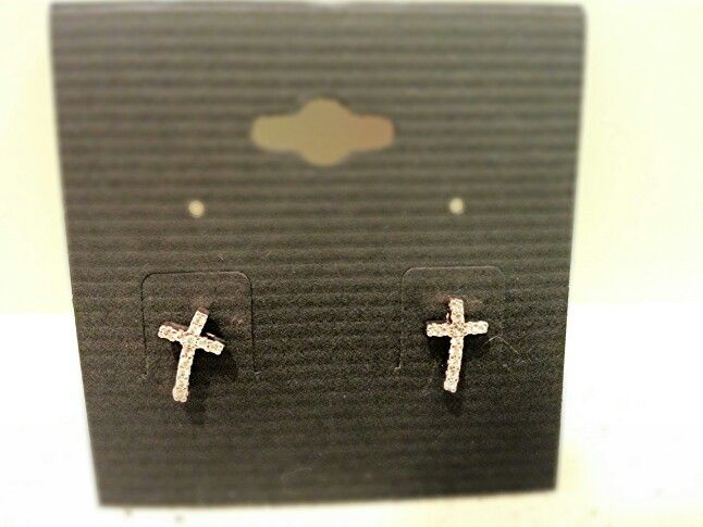 CZ rose gold cross stud earring