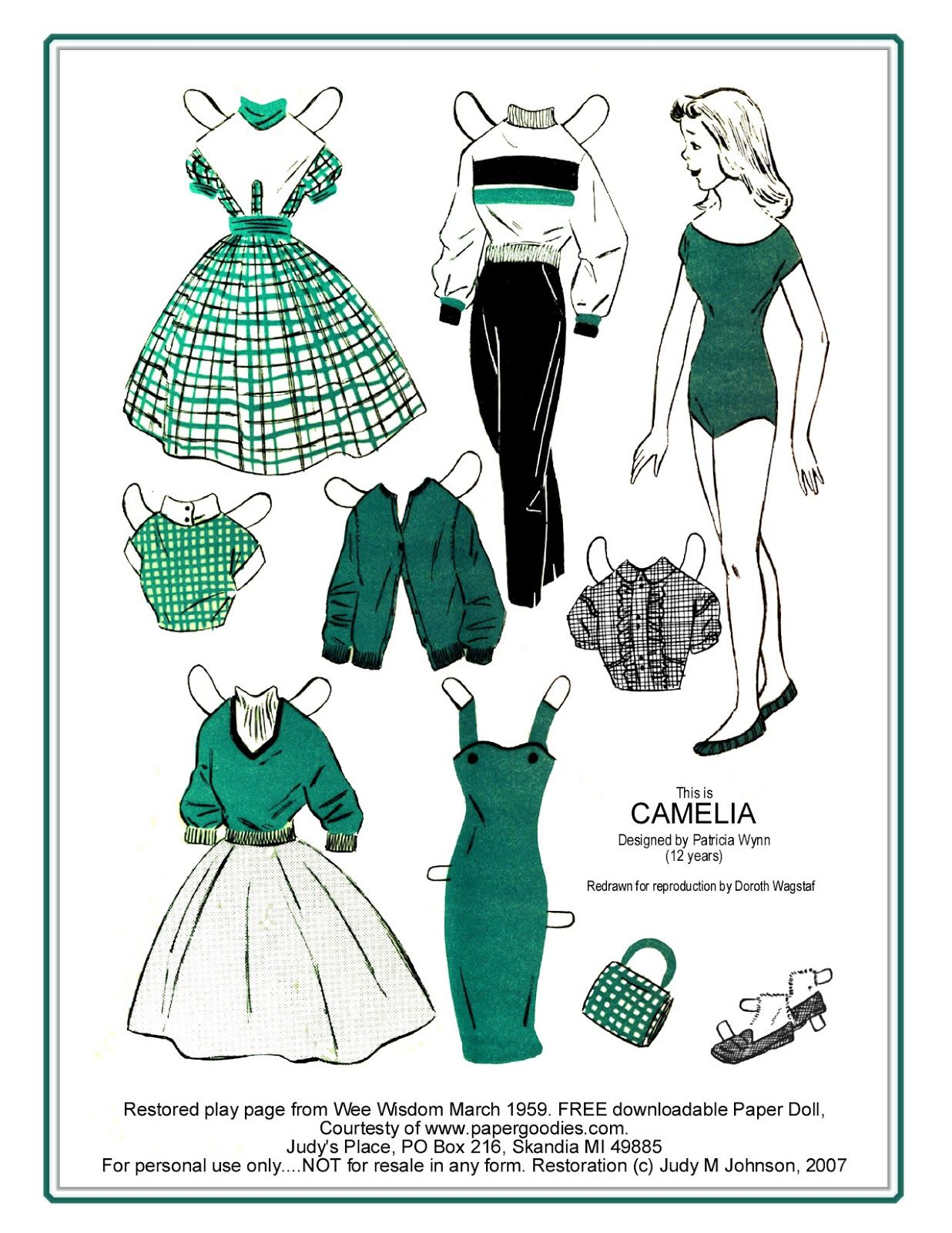 This is CAMELIA Designed by Patricia Wynn (12 years) Redrawn by Dorothy Wagstaff  Restored Play Page from Wee Wisdom March 1959 |  PORTUGUESE: Patatitralalá...: PRESENTE PARA AS MENINAS MAMÃES... VAMOS BRINCAR? ENGLISH: Patatitralalá...: GIFT For MOMS GIRLS... LET'S PLAY?