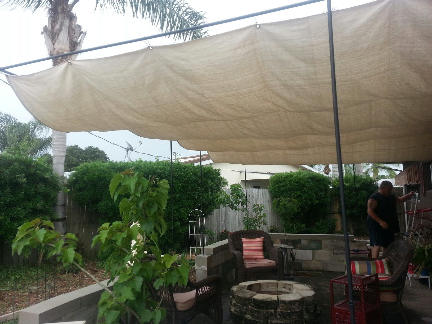 23 Ft X 12 Ft Canopy Cover Made With Painters Canvas Tarp And Grommets Put Up With Metal Shower Curtain Rings Total Co Canopy Outdoor Backyard Canopy Backyard