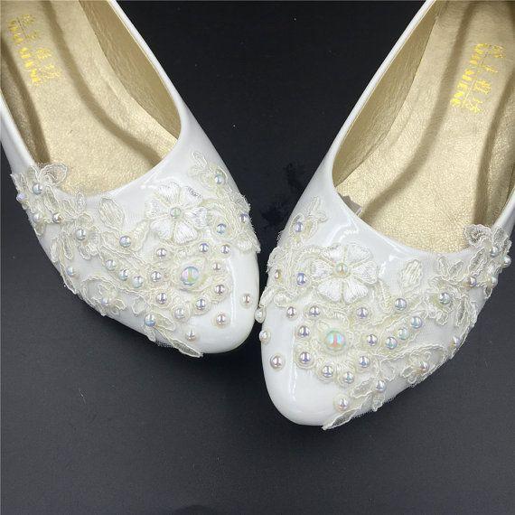 Flat Wedding Shoes Lace Bridal Ivory Flats Cream Off White Size 4 5 6 7 8 9 10 11 12