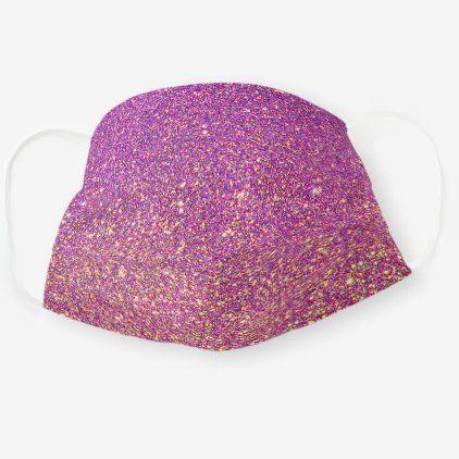 Faux Purple Pink Glitter Glitzer Pattern Texture Cloth Face Mask