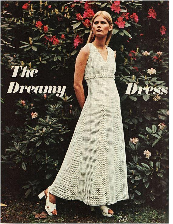 Crochet Dress Pattern Vintage 70s Crochet Maxi Dress Pattern ...