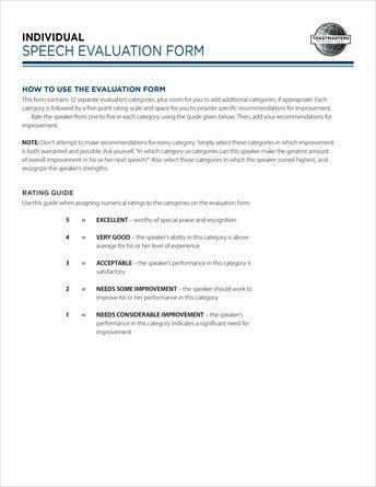 Art Of Effective Evaluation Individual Speech Form Pad Of