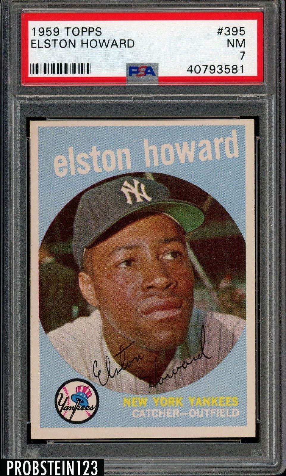 1959 Topps 395 Elston Howard Yankees Psa 7 Nm