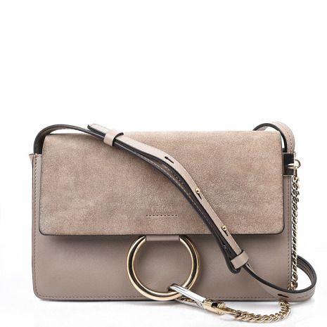 26e34452f0ea CHLOÉ Faye Small Motty Grey Leather Bag
