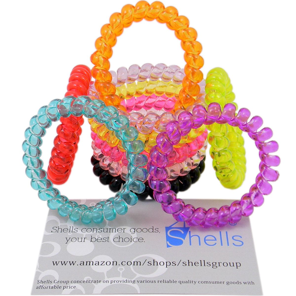 10pcs Multi Color Flexible Plastic Spiral Coil Phone Wire Hair Tie Rope Hairband Ring Clear