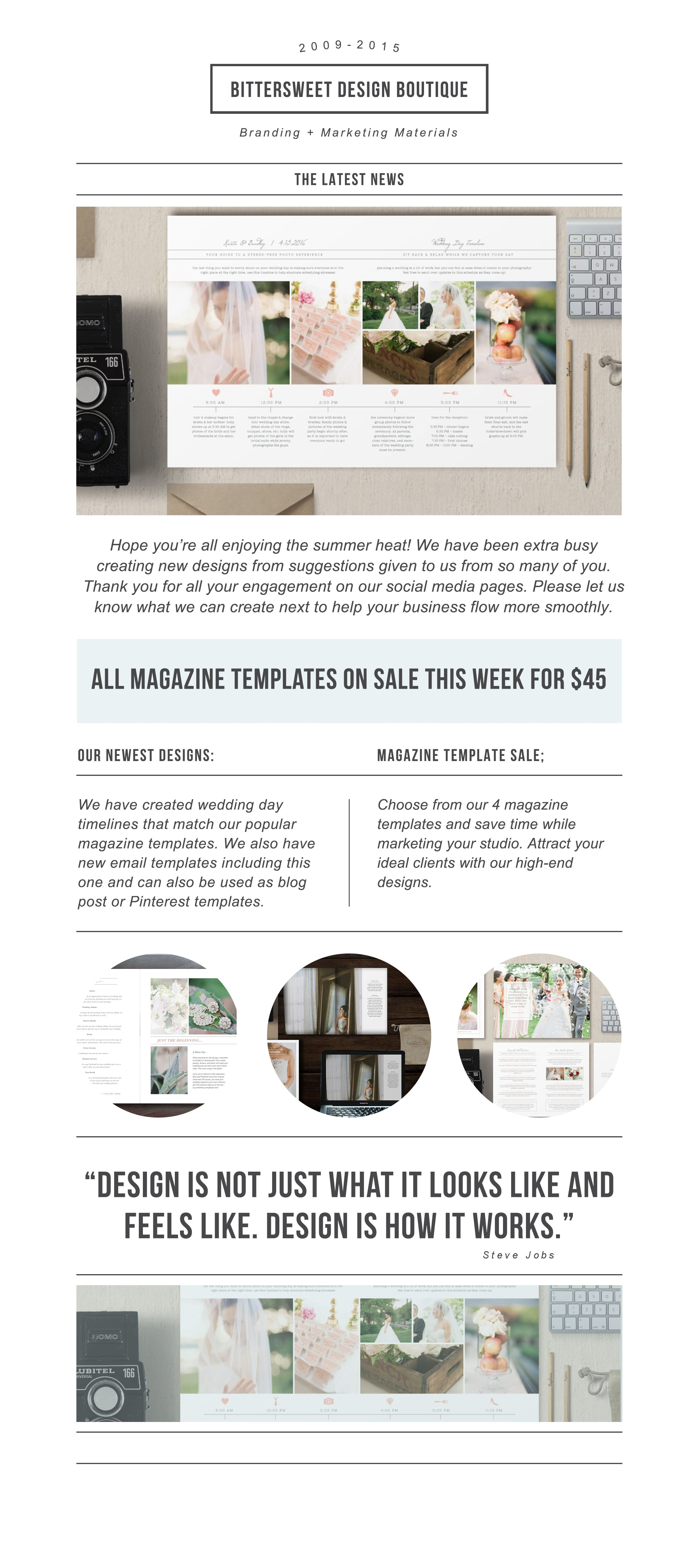 Photography Newsletter Template for Email & Pinterest - Wedding ...