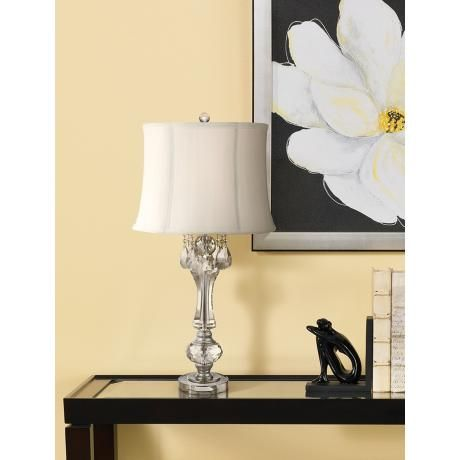 Ballard Crystal Drops Column Table Lamp