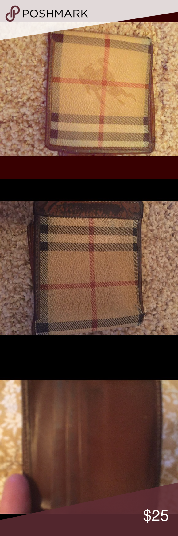 100% authentic Burberry wallet-sold as is This Burberry wallet was bought at an exchange store at the airport.  It has some glad I tried to show in the pics like the card holder part is a little broken and it's a little dirty on the outside on one side, but probably could be cleaned.  Selling as is and price will reflect flaws😊 Burberry Bags Wallets