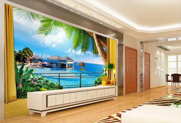 papier peint 3d paysage maison de vacances au bord de la mer extension d 39 espace papier. Black Bedroom Furniture Sets. Home Design Ideas