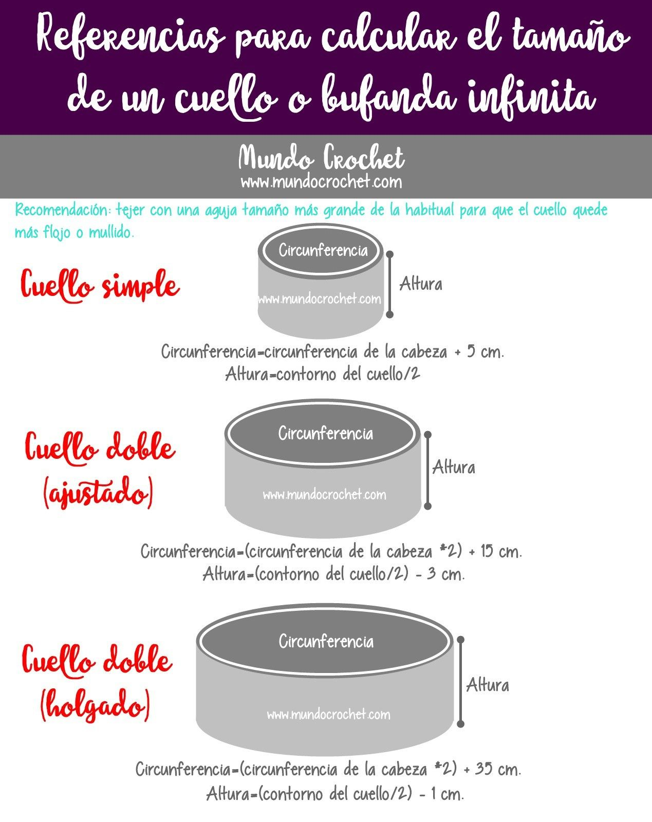 Table to figure infinity scarf sizes Tabla de medidas para cuellos o ...