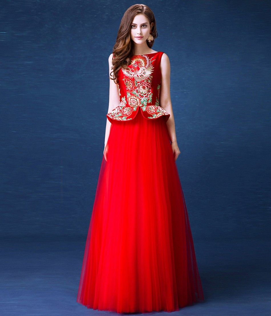 ae2f4582be6 Elegant Red Brocade Top Tulle Skirt Chinese Wedding Dress Evening Gown -  iDreamMart.com