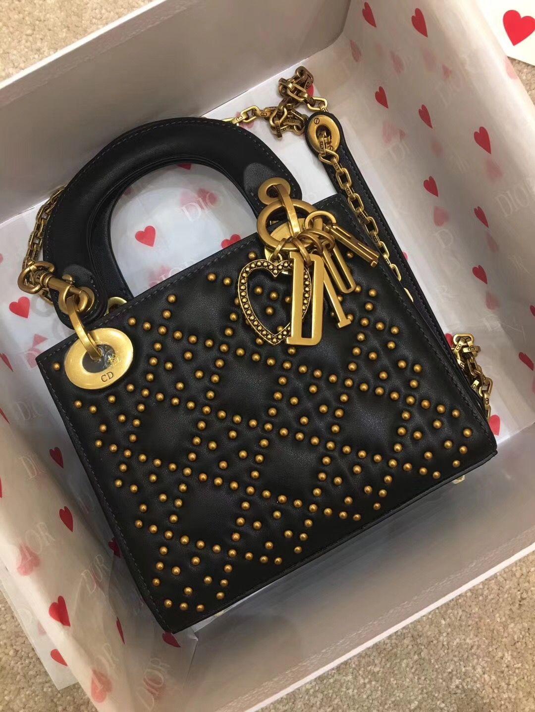 cf532b14d7 Christian Dior CD woman bag original leather version lady Dior with studs