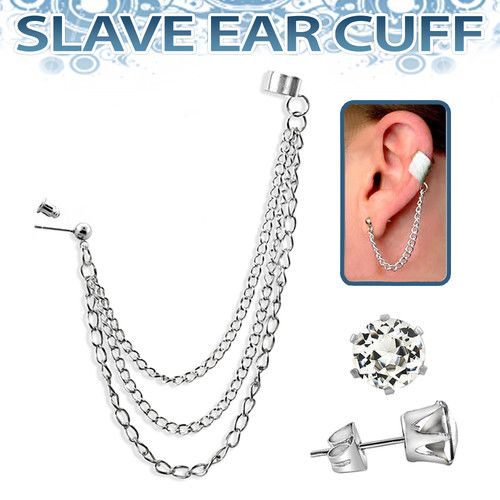 Silvertone 3 Chain Slave Ear Cuff And Crystal Stud Set Ebay