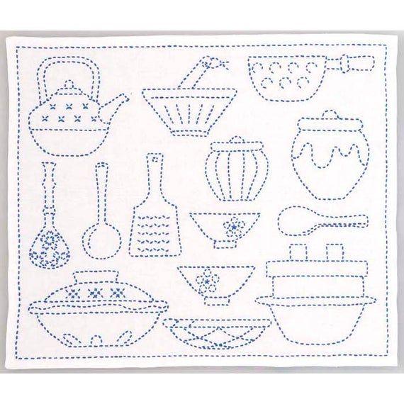 Japanese Kitchen ware - cotton sashiko pattern kit, stitch on the preprinted line- approx. 32 cm x 37 cm