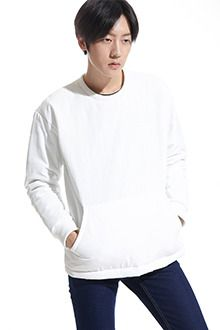 Redhomme Padded Boxy PulloverAdd another layer of warmth to your look with this padded boxy pullover. This crew neck piece features long sleeves with banded cuffs, loose fit, and wide kangaroo pocket. Best with lined jeans and beige leather boots.
