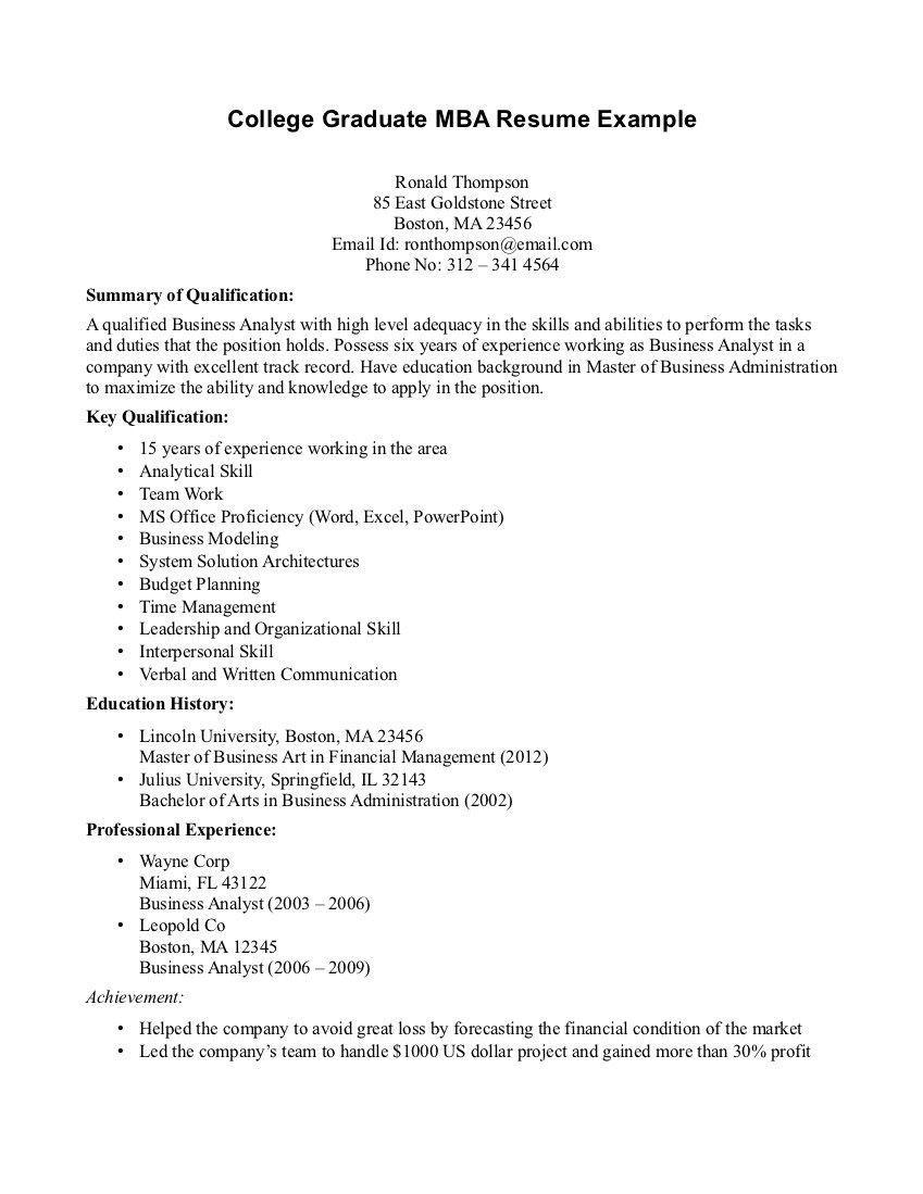 College Graduate Resume Examples Free