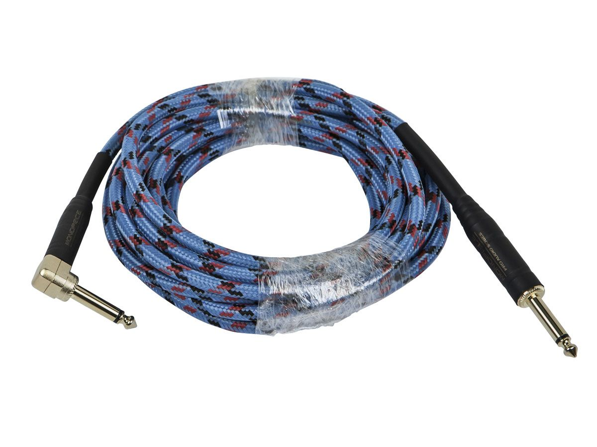 Monoprice Cloth Series 1 4 Inch Ts Guitar Instrument Cable With One Right Angle Connector 10ft Blue Monoprice Com Guitar Studio Monoprice Guitar