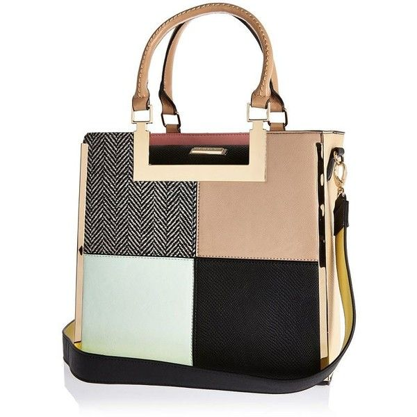 River Island Pink Patchwork Tote Handbag 84 Liked On Polyvore Featuring Bags Handbags Purses Pers Women