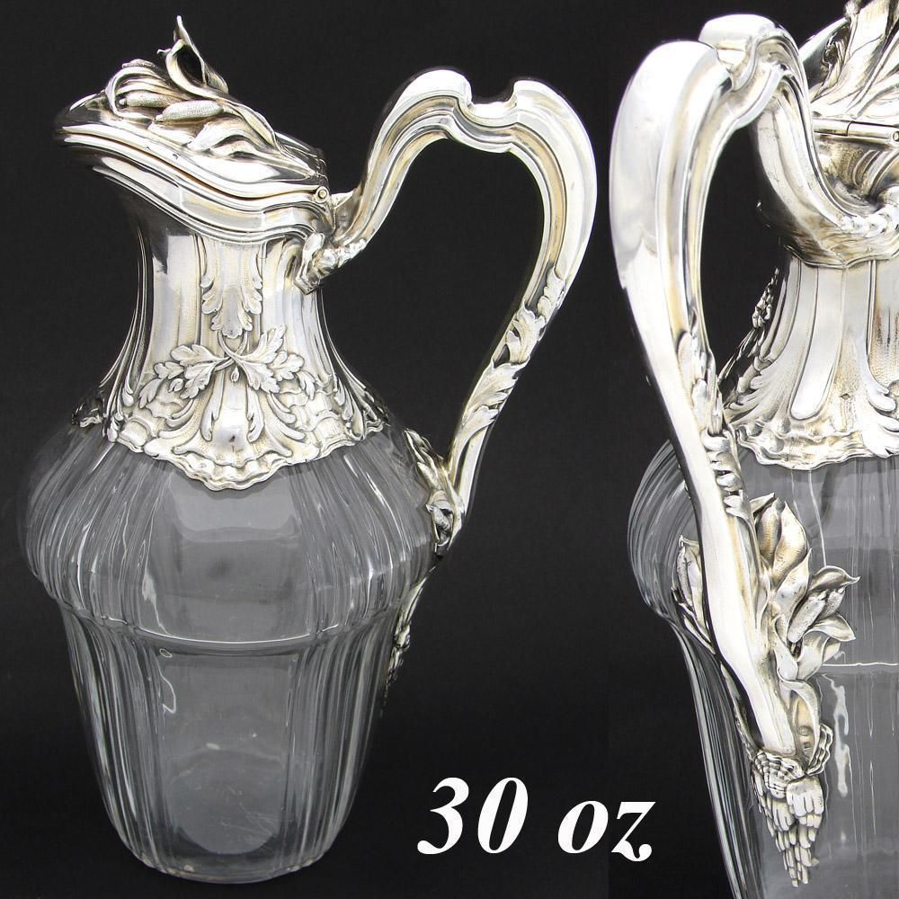Superb Antique French Sterling Silver & Cut Glass