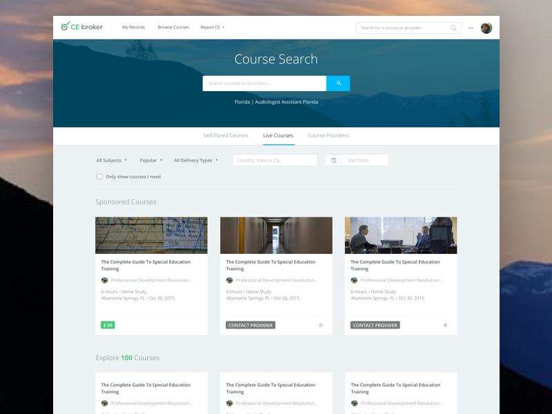 Course Search Web Development Design Course Search Dashboard Design