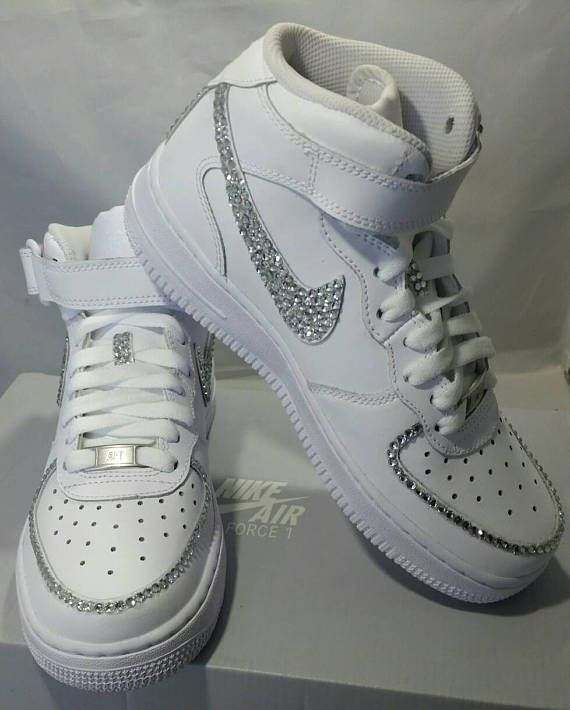 Custom Bling Air Force Ones- Bling Tennis Shoes- Bling   Pearls ... 39b0343744cb