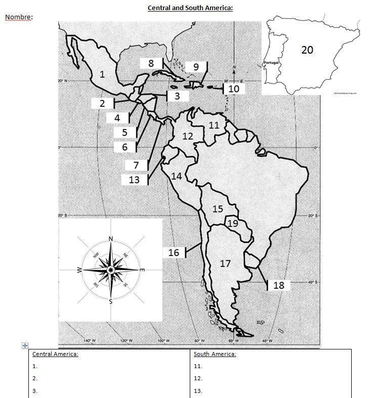 Spanish Speaking Countries Blank Map  For Spanish Teachers  CRA