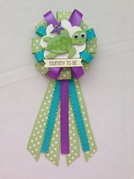 Mommy To Be Ribbon Corsage For Baby Shower Gender Neutral Sea