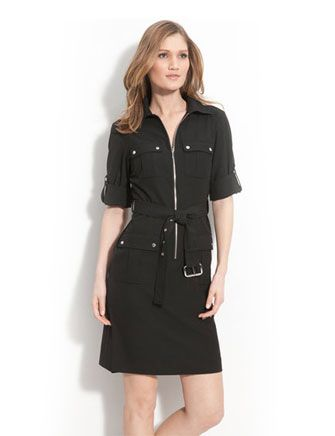 MICHAEL MICHAEL KORS MK Rolled Sleeve Belted Zip-Front Slim Shirtdress Dress