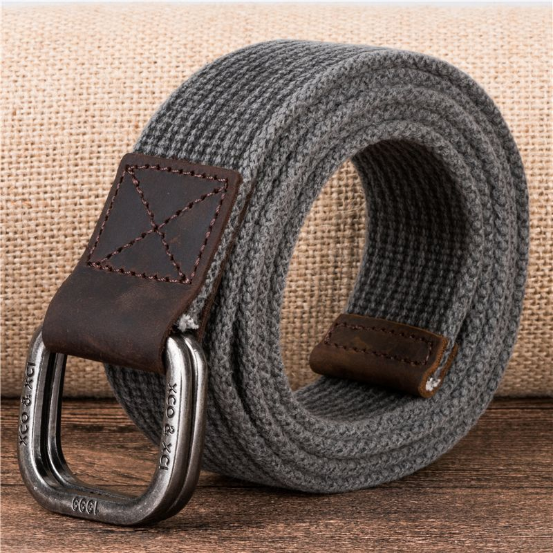 Cotton Weaving Of The Men Genuine Leather Double D Ring Belt