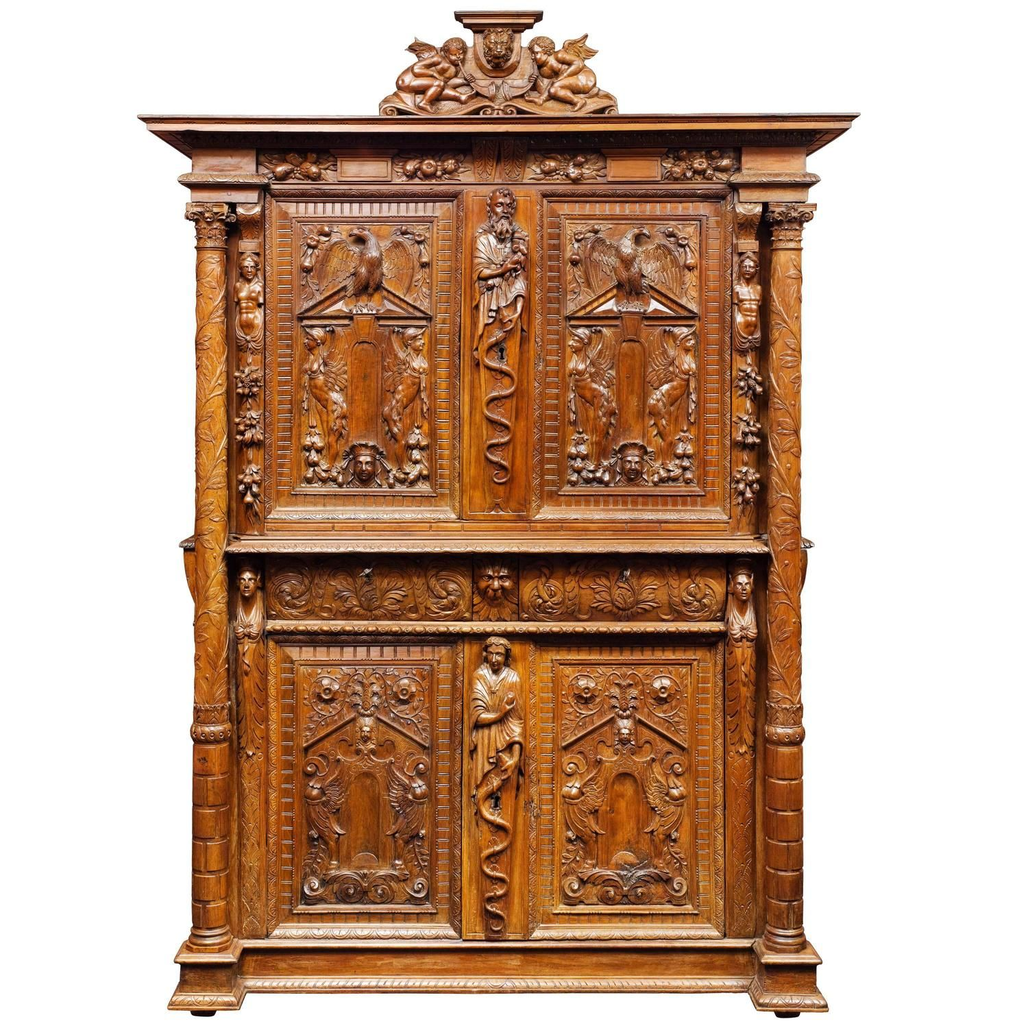 French baroque furniture - French Walnut Renaissance Cabinet 16th Century
