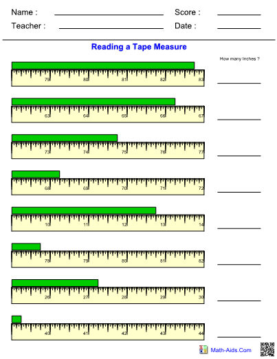 Reading A Tape Measure Worksheet : reading, measure, worksheet, Preschool, Learning, Activities