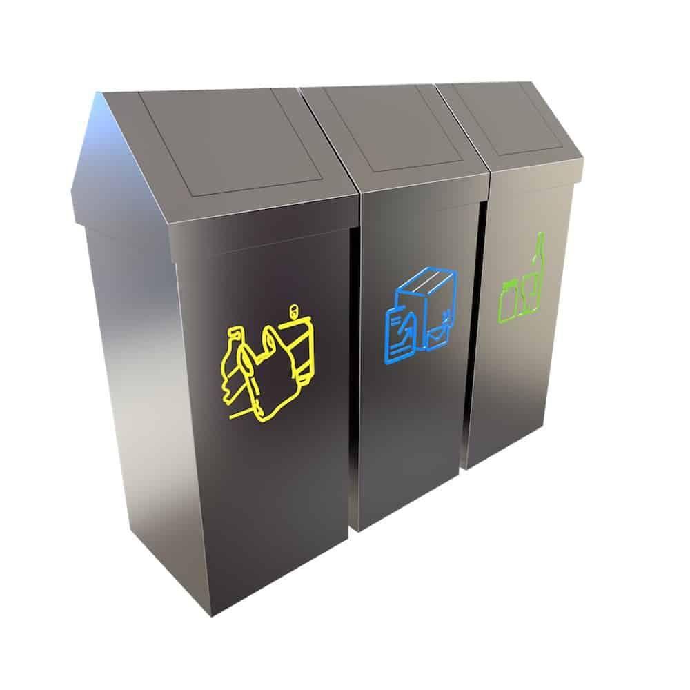 Umea Conteneur Inox Tri Selectif Dechets 50 Litres Recycling