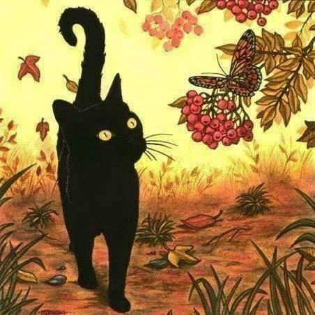 Le Parfum A L Odeur De Chat Art D Automne Art De Chat Noir Peinture Chat